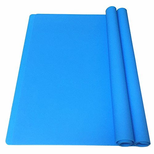 EPHome 2Pack Extra Large Multipurpose Silicone Nonstick Clay Mat, Heat Resistant Nonskid Counter Mat, Table Mat, 23.6''15.75'' (Blue) ()