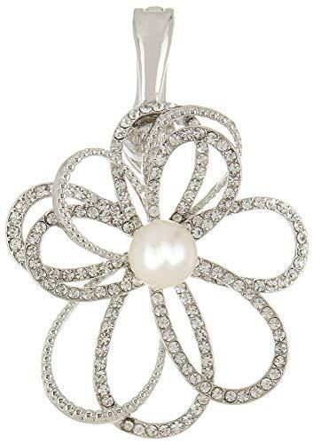 - Wearable Art by Roman Rhinestone & Faux Pearl Flower Pendant Silver Tone