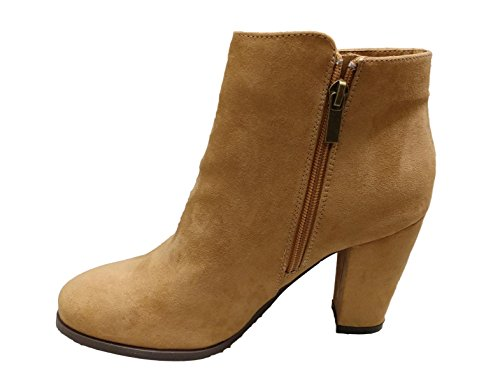 Bamboo Womens Playdate-03M Imitation Suede Heeled Ankle Bootie Tan KBiUQU4wJE