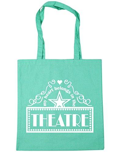 HippoWarehouse mi corazón pertenece en el teatro Tote Compras Bolsa de playa 42cm x38cm, 10litros verde menta