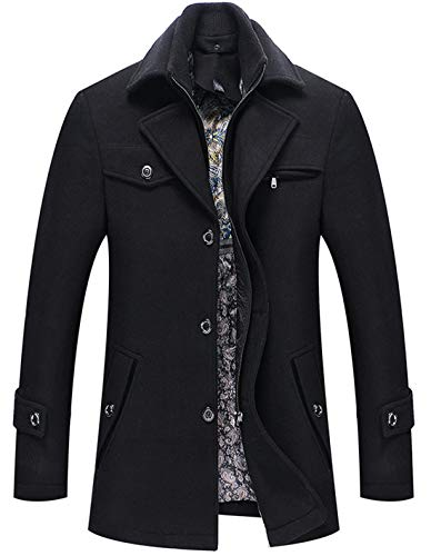 chouyatou Men's Winter Removable Collar Single Breasted Heavyweight Wool Blend Walker Coats (Large, ()