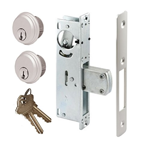 - Adams Rite Style Door Lock Mortise Deadbolt & Double Keyed Cylinder Set, in Aluminum (1-1/8