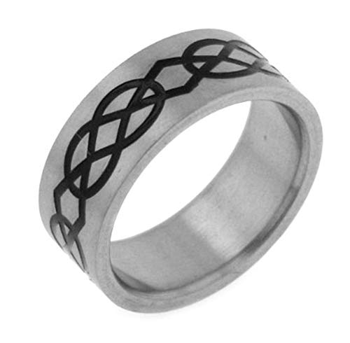 Silver Insanity 8mm Wide Mens and Womens Titanium Black Enameled Celtic Knot Wedding Band Ring Size 10(Sizes 6,7,8,9,10,11,12)