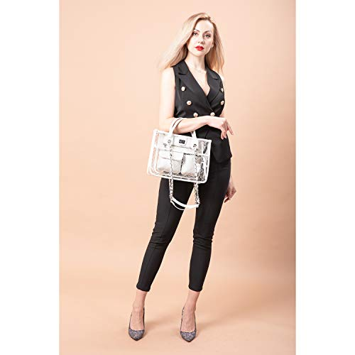 Amazon.com: Clear Handbag Purses and Handbags Womens Designer Quilted Tote Shoulder Bag Medium Waterproof Twist Lock w/Chain Strap Stylish White: Shoes