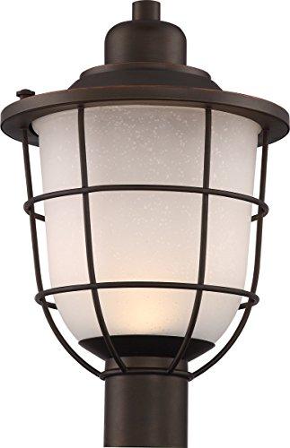 Mahogany Bronze Finish Pendants - Outdoor Post Light 1 Light with Mahogany Bronze Finish LED Etched Seeded Glass 11 inch 15 Watts