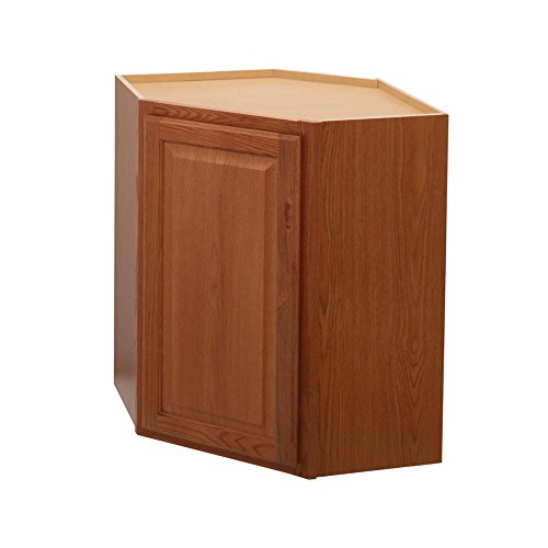 Hampton Bay Hampton Assembled 24x30x12 in. Diagonal Corner Wall Kitchen Cabinet in Medium Oak