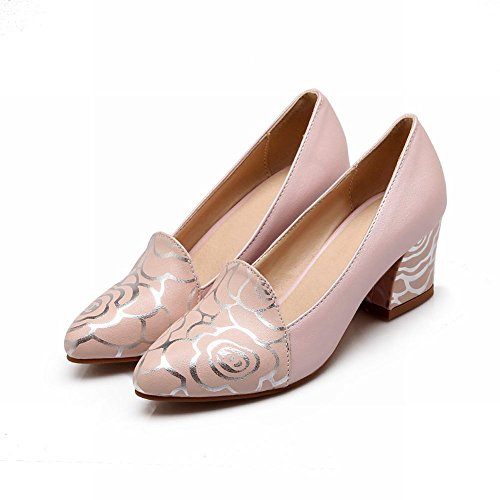Bridal Mid Shoes Carolbar Printed Pointed Pink Rose Heel Toe Womens Dress zaHnxX