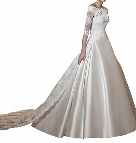 JOYNO BRIDE Three-quarter Lace Sleeves A-line Satin Weddi...