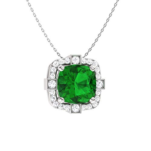 Diamondere Natural and Certified Cushion Cut Emerald and Diamond Halo Necklace in 14k White Gold | 0.79 Carat Pendant with - Diamond Cut 14k Emerald Wg