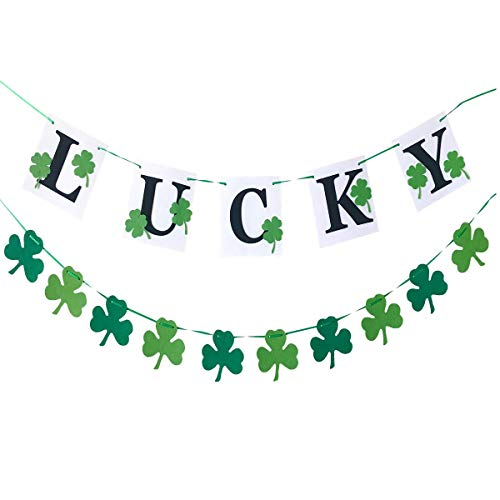 Lucky Garland Felt Shamrock Clover for Irish Birthday Party Supply Green Sign Home Decorations St Patricks Day Banners