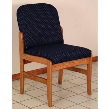 - DMD Lobby Seat, Office and Waiting Room Armless Guest Chair, Mahogany Wood with Wine Vinyl Upholstery