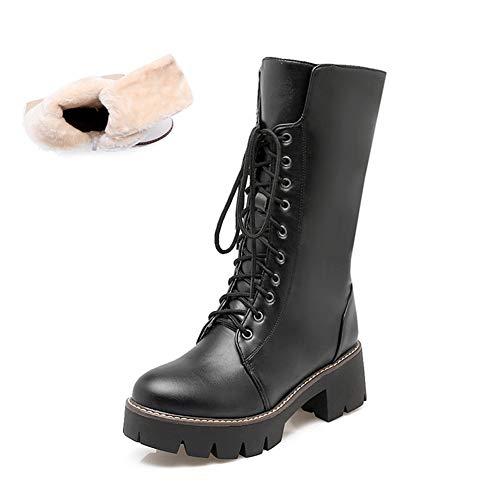 T-JULY Women's Block Heel Punk Motorcycle Winter Boots White Black Platform Gothic Lace Up Zipper Mid Calf Combat Shoes