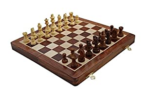 "StarZebra Chess Set - Wooden Magnetic Travel Chess Set with Staunton Pieces and Folding Game Board 12"" Inch - Handmade By Artisans in India"