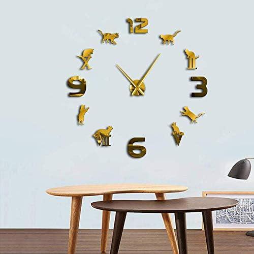 Muatior Números Romanos DIY Gran Reloj de Pared Moderno Gatito Gato Reloj Gigante 3D Espejo Gran Número de Reloj de Pared Etiqueta Gato Amante Regalo(Oro - 37 Pulgadas): Amazon.es: Hogar