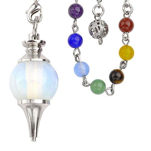JOVIVI Beautiful Opalite Pendulum Dowsing Chakra Healing Pendant/Bracelet Combination With 7 Chakras (Lady Executive Blue Gem)
