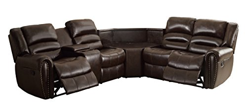 Homelegance 3 Piece Bonded Leather Sectional Reclining Nail Head Accent Sofa with Wide Center Console & 1 Cup Holder Console, Brown