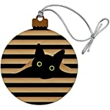 Black Cat In Window Wood Christmas Tree Holiday Ornament
