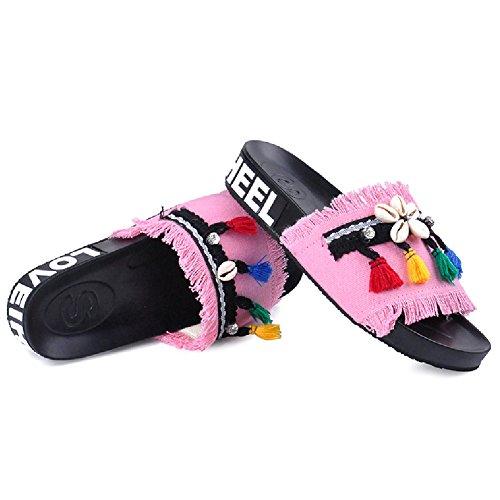 Btrada Mujeres Denim Sandals-verano Antideslizante Open Toe Flats-shell Y Color Slip Slip Zapatos Pink