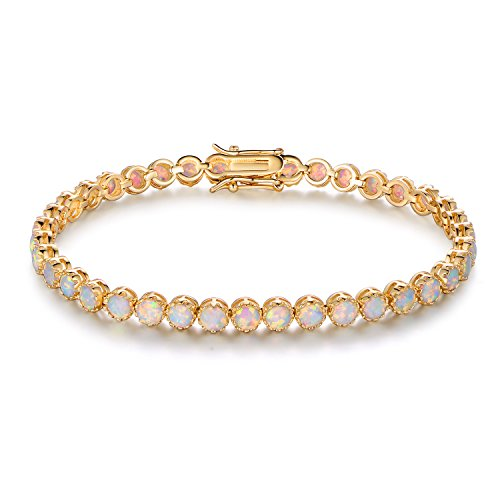 Barzel White Rhodium, Gold & Rose Gold Plated Opal Created Crown Tennis Bracelet (Gold)