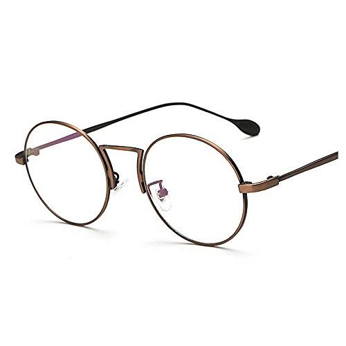 unisexes Anti lunettes de UV Protection Style Metal Ray Frame de femmes Artistic de lunettes pour hommes Rimmed soleil Laiton lentilles Round Rétro Simple de Blue soleil ordinateur lunett soleil lunettes TAC qP0IYxw