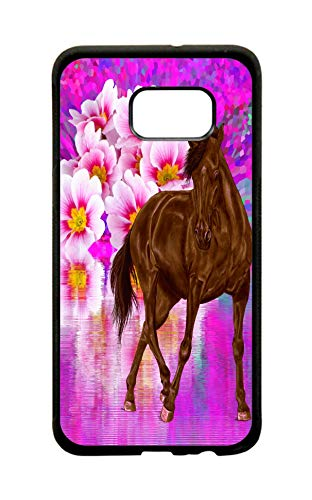 Lake Outlet (Chestnut Horse and Flower Lake Design Protective Black Plastic Phone Case Cover That is Compatible with The Samsung Galaxy s6 Edge)