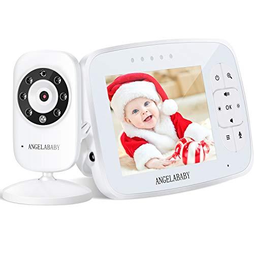 "Baby Monitor, Angelababy 3.5"" HD Display Wireless Video Baby Monitor with Camera and Audio, Two-Way Talkback, Temperature Monitoring, Lullabies, Long Range Baby Monitor with Infrared Night Vision"