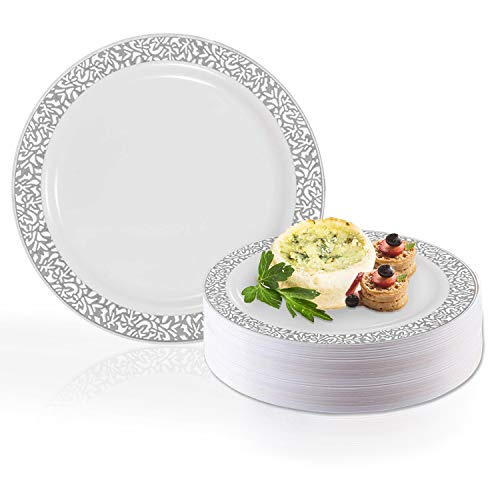 (Disposable Elegant Plastic Dessert Plate Set - Heavy Duty Round White with Silver Salad Plates - Reusable Cake Party Plate For Wedding, Christmas, Thanksgiving, Birthday & Other Occasions - 120 Plates)