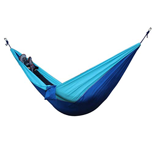 Li-Never Single Double Hammock Adult Outdoor Backpacking Travel Survival Hunting Sleeping Bed Portable with 2 Straps 2 Carabiner,Blue Deep Blue (Lb Hammock Capacity 800)