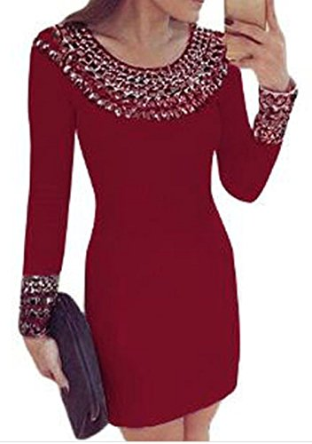 IF FEEL Women's High Neck Studded Long Sleeve Tight Bodycon Mini Party Dress - Red Size S (Red And White Stripped Tights)