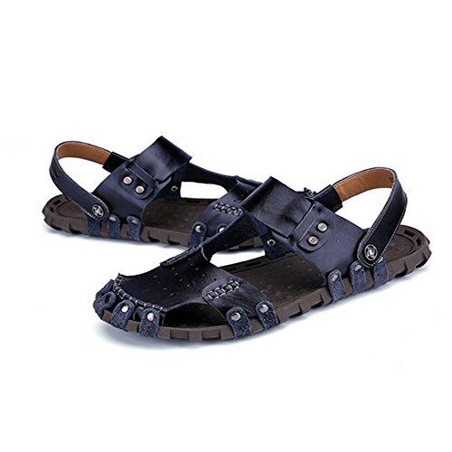 coperto uomo regolabili pelle sandali sandali Black e da uomo per assorbenti pelle in traspiranti sudore all'aperto tempo chiusi Sandali il per spiaggia Sandali in la da adatti libero antiscivolo al gw4Uqnq0