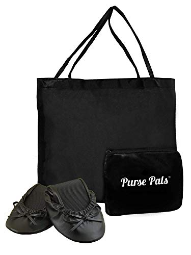 Solemates Purse Pal Foldable Bowed Ballet Flats w/Expandable Tote Bag for Carrying Heels (Medium (7-8.5), Black) - Pal Black Case