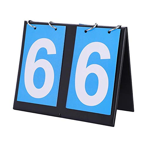(Wbestexercises 2/3/4 Digit Scoreboard Portable Table Top Score Keeper Easy-Flip Indoor/Outdoor Score Counter Scoring System for Table Tennis Basketball Soccer Football Baseball and More(2-Digit) )