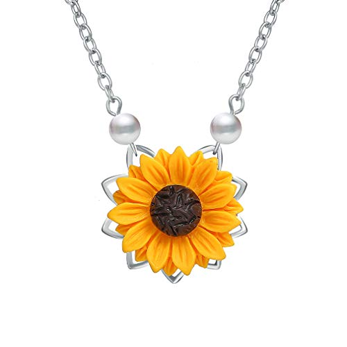 (MOONQING Sunflower Necklace Faux Pearl Flower Sweater Chain Bohemian Flower Pendant Necklace Sweet Floral Choker Necklace for Women,Silver)