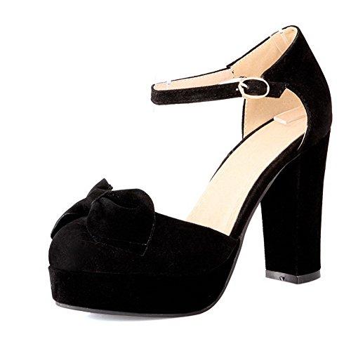 BalaMasa da donna punta chiusa con fibbia solido tacchi alti sandali, Nero (Black), 35 EU