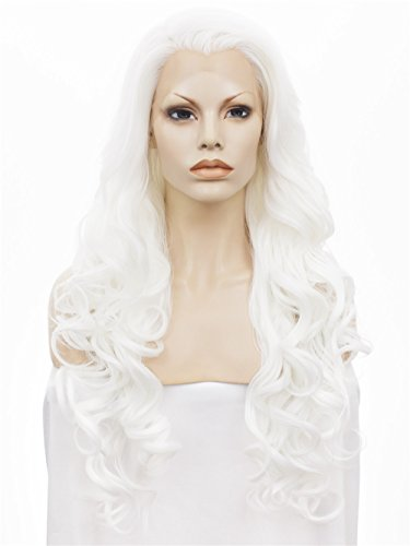 Imstyle Long Wavy White Lace Front Wig Heat Resistant