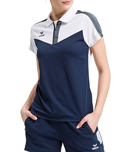 Erima Squad Sport Polo Femme, Blanc/New Navy/Slate Grey, FR : L (Taille Fabricant : 40)