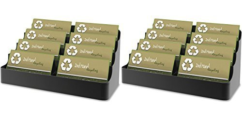 DEFLECT-O Recycled Business Card Holder, Holds 450 2 x 3-1/2 Inches Cards, Eight-Pocket, Black (DEF90804), 2 Packs - Recycled Business Cards