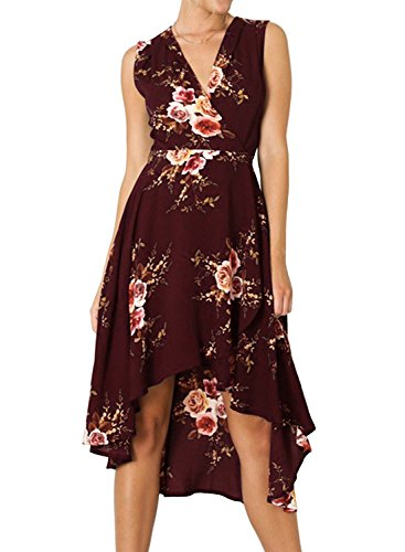 ZESICA Women's Floral Tie Waist Sleeveless High Low Beach Party Maxi Dress