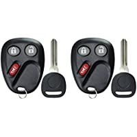KeylessOption Keyless Entry Remote Car Key Fob and Key Replacement For 15008008, 15008009 (Pack of 2)
