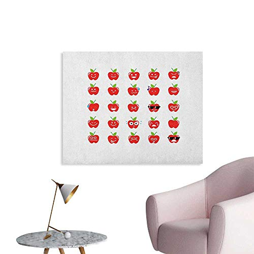 Anzhutwelve Emoji Photographic Wallpaper Apple with Facial Expressions Happy Sad with Glasses Singing Confused Pattern The Office Poster Red Green Black W32 xL24