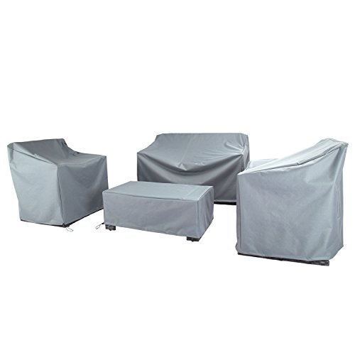 Baner Garden N87 4-piece Outdoor Veranda Patio Garden Furniture Cover Set with Durable and Water Resistant Fabric (Grey) (Set Covers Table Patio)