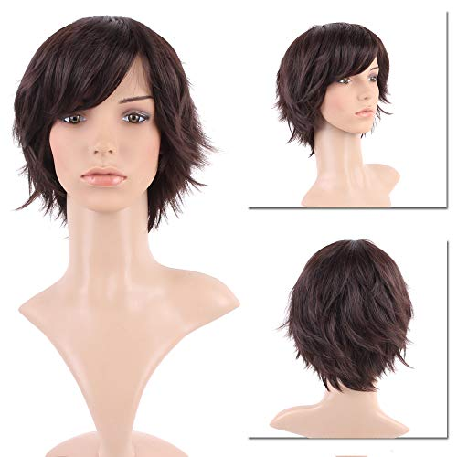 (Short Brown Pixie Synthetic Hair Unisex Wig with Bangs Fluffy Brunette Straight Full Wigs for Cosplay Costume Anime Wear Dark)