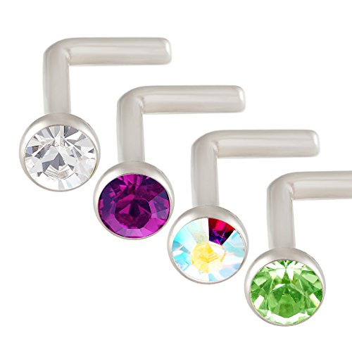 (bodyjewellery L Shaped Nose Ring 18g Surgical Stainless Steel Nostril Piercing Studs Crystal Mixed Clear Amethyst Aurora Borealis Peridot)