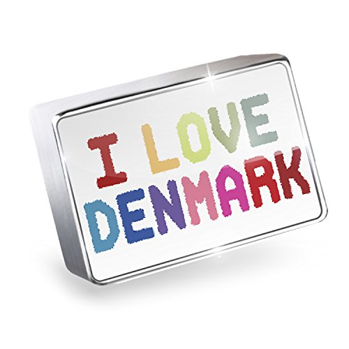 Floating Charm I Love Denmark ,Colorful Fits Glass Lockets, - I Glasses Denmark