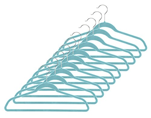 Whitmor Spacemaker Suit Hangers - Set of 10 - Turquoise