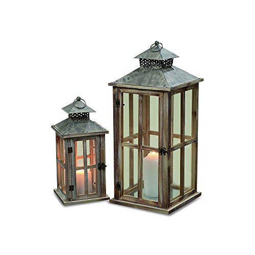The Stockbridge Rustic Hurricane Candle Lanterns, Set of 2, Rustic Brown And Vintage Gray, Galvanized Metal, Glass, Wooden Cross Post Panels, 13 and 19 3/4 Inches Tall, By Whole House Worlds