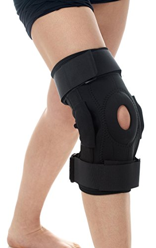 Hinged Knee Brace Immobilizer - Open Patella Support for Swollen or Teared ACL, Tendon, Ligament, arthritis, and Meniscus Injuries - Athletic Compression Wrap for Running Wrestling and Arthritic Joint by Mi TrendZ