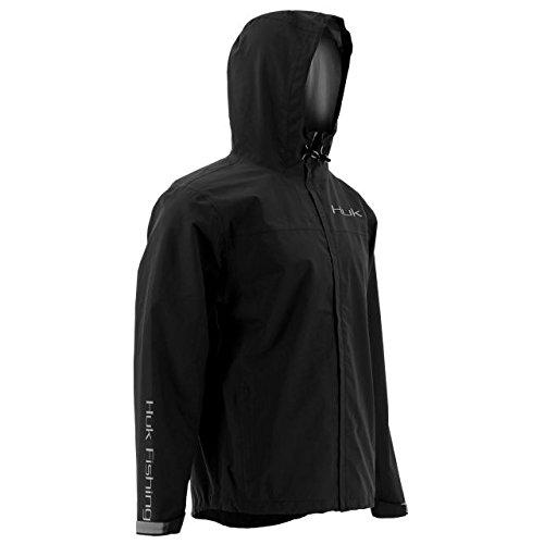Huk Men's Packable Rain Jacket, Black, 3X-Large