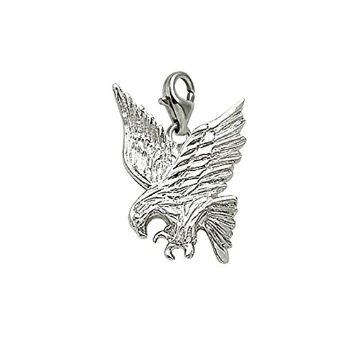 14k White Gold Eagle Charm With Lobster Claw Clasp, Charms for Bracelets and (14k Gold Eagle Claws)