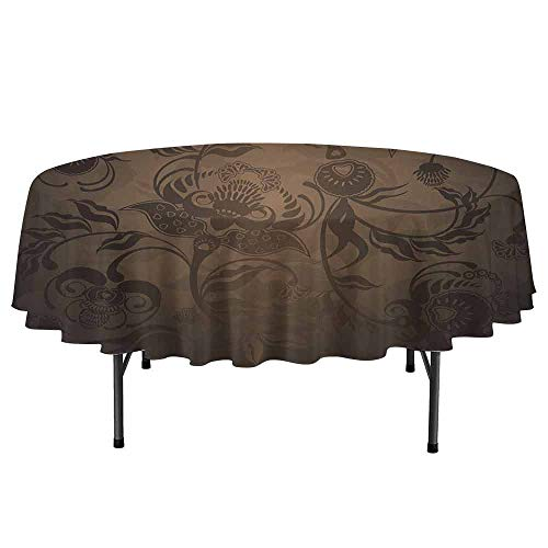 Victorian Waterproof Anti-Wrinkle no Pollution Floral Paisley Ivy Design Leaves with Abstract Details Ancient Print Round Tablecloth D55 Inch Seal Brown - Petty Chocolate